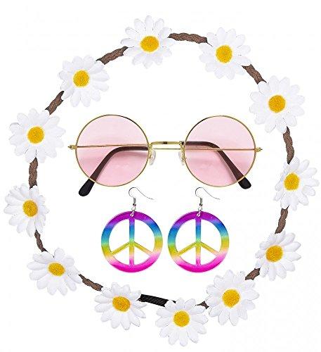 70er Jahre Flower Power Hippie Set - Brille Haarband mit Blumen Ohrringe mit Peace-Zeichen