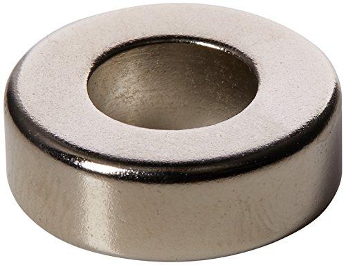 first4magnets N42imán de neodimio con 9,5mm Orificio y Apoyo hasta 8.1kg de Fuerza, Plata, 19,1x 6,4mm