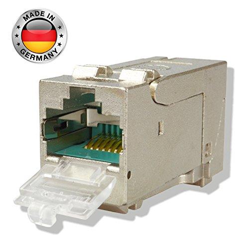 AIXONTEC Cat.6A Keystone Jack RJ45 Modul 500 MHz 10Gbit vollgeschirmt- 180 Grad, werkzeuglose Montage, Made in Germany (6-Pack) - 5e Keystone-koppler
