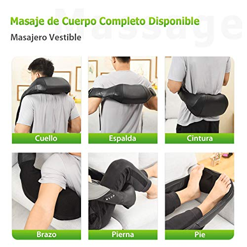 Shiatsu Masajeador Cervical, ATMOKO Masajeador de Cuello y Hombros Espalda Básico con 3D Rotación de Calor, 8 Nodos, 3 Intensidades, 4 Botones para Cuello Hombros Espalda Piernas, Uso en Coche