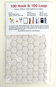 200 Sticky Dots White 13mm Self Adhesive - 100 Hook plus 100 Loop by CUK Designs