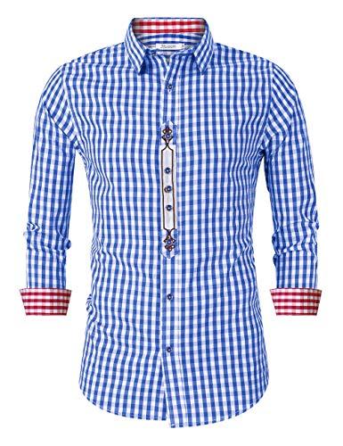 KOJOOIN Trachtenhemd kariert Herren Hemd Freizeithemd Landhausstil Langarmhemd Slim fit Hemd Bestickt Baumwolle - für Oktoberfest, Business, Freizeit(Verpackung MEHRWEG),Blau-stickerei,L