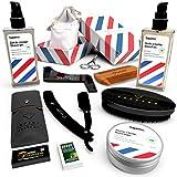 Kit Barbe Homme Complet DELUXE - Coffret Cadeau Barbe Rasage Entretien & Soin : Huile Barbe 50ml et Baume 60ml 100% Naturel + Gel de Rasage 50ml FABRIQUÉS EN FRANCE + Rasoir Barbier + 7 Accessoires