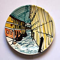 Bridge of Sighs-Ceramic plate, diameter inch 8.1,high inch 1 -Made in Itally, Tuscany, Lucca. Certificate. Created by Maestro Davide Pacini.