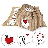 24 kleine Mini-Geschenkkarton Faltschachtel braun natur 9 x 12 x 6 cm ohne Griff + 24 Herz-Aufkleber Sticker 4 cm in schwarz weiß rot Verpackung Mitgebsel Gast Geschenke give-aways Hochzeit