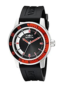 Invicta Specialty Men's Quartz Watch with Black and White Dial Analogue Display and Black PU Strap 12845