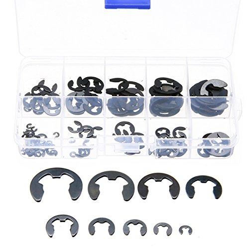 120pcs E-Clip Aussen Sortiment Kit 1.5mm bis 10mm Sicherungsring Schwarze