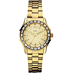 Guess W0018L2 B-Montre Girly Women's Quartz Analogue Watch-Steel Strap Golden Dial Gold