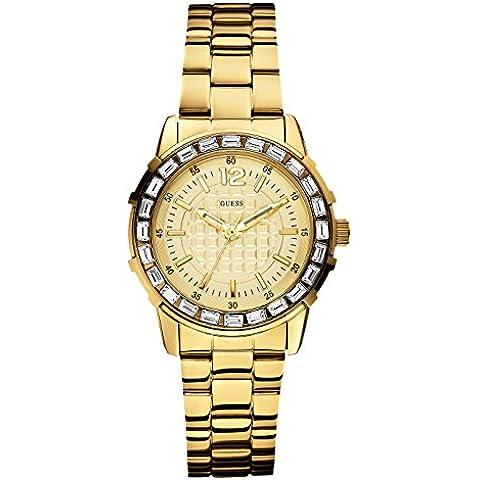 Guess W0018L2 - Reloj analógico de cuarzo para mujer con correa de acero inoxidable, color dorado