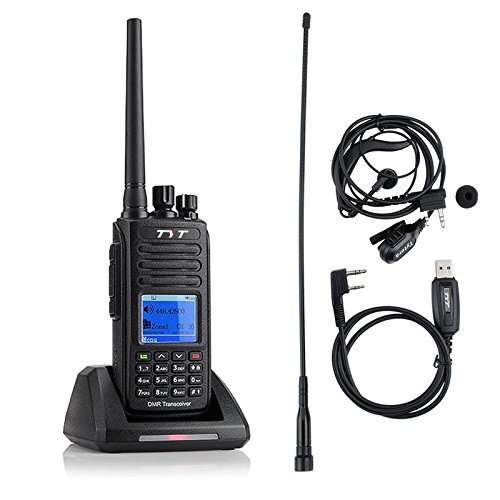 TYT Tytera MD-390 DMR Digital Radio, Waterproof Dustproof IP67 Walkie Talkie, UHF Two-Way Radio, Transceiver Compatible with Mototrbo, with 2 Antenna (High Gain Antenna in cluded) & Programming Cable