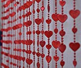 Pindia Fancy Red Heart Sparkling Plastic Strings Bead Hanging Curtain - 7ft, Red