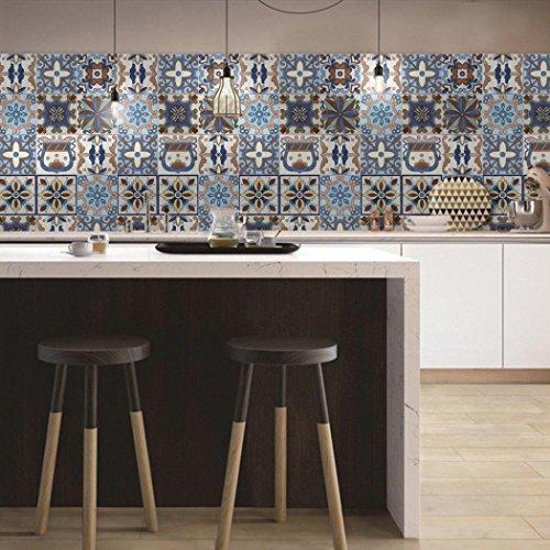 Momola 1×Roll 25 Pieces Self Adhesive Tile Art Wall Decal Sticker DIY Kitchen Bathroom Living Room Floor Vinyl Home Decor Wallpaper (F)