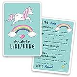 Einladungskarten Einhorn mit GLITZER Kindergeburtstag - Regenbogen - Unicorn | 15 Stück | Geburtstag | Einladungskarte Mädchen | Geburtstagseinladungen Karte Einladung | Inkl. Druck Ihrer Texte
