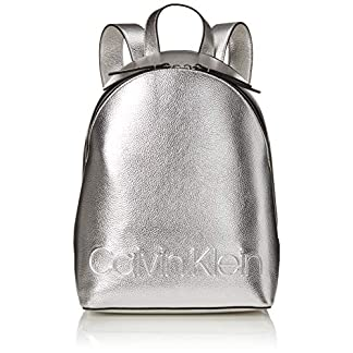 514j1AuSK8L. SS324  - Calvin Klein - Edged Backpack Met, Mochilas Mujer, Gris (Silver), 15x38x27.5 cm (B x H T)