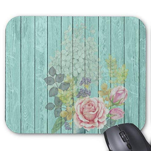 Teal Wood Effect Pink Roses Floral Bouquet Mouse Pad Rectangle Non-Slip Rubber Personalized Mousepad Gaming Mouse Pads Bouquet Natural Wood