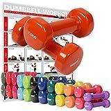 POWRX - Mancuernas Vinilo 3 kg Set (2 x 1,5 kg) + PDF Workout (Naranja)