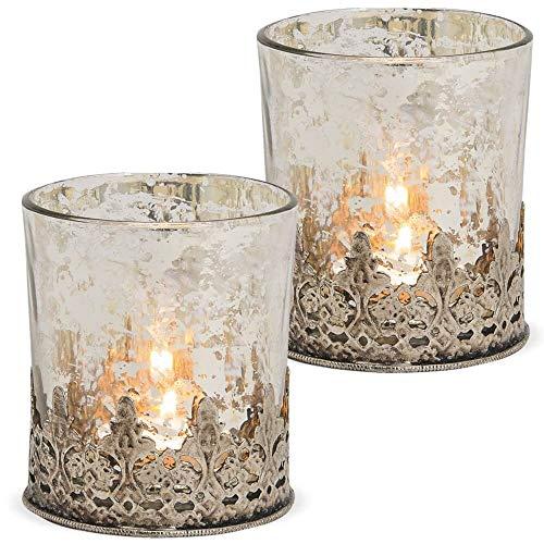 matches21 Windlichter Teelichtgläser Kerzengläser mit Metall orientalisches Muster Silber antik 2er Set - Ø 8x9 cm