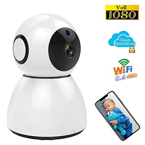 Wireless WIFI Kamera, Zeetopin 1080p HD Überwachungskamera, IP-Sicherheitsüberwachungssystem mit Bewegungserkennung und zwei 2-Wege-Audio, Cloud Storage für Baby-Kamera / Nanny Cam/ Haustiere Weiß