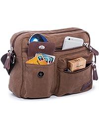 Hengwin Multi Bolsos Pequeño Lienzo Hombro Cruz Cuerpo Bolsa Messenger Bag para hombres y mujeres Vacaciones Trabajo Vuelo Viaje Deportes, se adapta para iPad, iPad Mini
