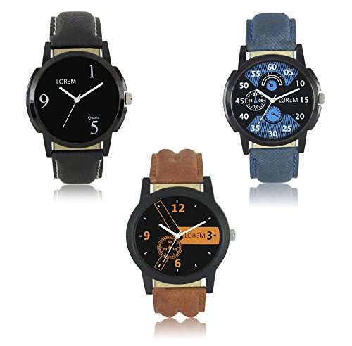 AK Analogue Multi-Colour Dial Men's Watch (Combo of 3) - WAT-LR -1-2-6
