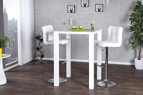 DuNord Design Design Bartisch Bistrotisch LUCENTE hochglanz weiss 80x80x105cm