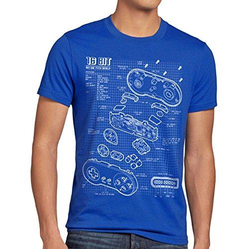 style3 SNES Controller Blaupause Herren T-Shirt 16-Bit Videospiel, Größe:XL, Farbe:Blau