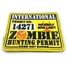 Permiso de Caza Internacional Zombie Parche de Velcro Grande de Airsoft de PVC Amarillo