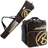 BRUBAKER Conjunto 'Super Champion 2.0' Bolsa para botas y Casco de ski junto a 'Carver Champion 2.0' Bolsa para un par de Ski - Marrón / Beige - 190 cms.