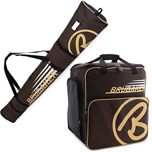 BRUBAKER Kombi Set CHAMPION - Limited Edition - Skisack und Skischuhtasche für 1 Paar Ski bis 170 cm + Stöcke + Schuhe + Helm Braun Sand