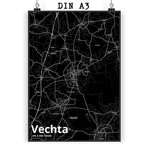 Mr. & Mrs. Panda Poster DIN A3 Stadt Vechta Stadt Black - Stadt Dorf Karte Landkarte Map Stadtplan Poster, Wandposter, Bild, Wanddeko, Wand, Motiv, Spruch, Spruch des Tages, Kinderzimmer, Einrichtung, Wohnzimmer, Deko, DIN, A3, Fan, Fanartikel, Souvenir, Andenken, Fanclub, Stadt, Mitbringsel