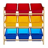 Premier Housewares 3-Tier Storage Unit with Pine Frame and 9 Plastic Coloured Storage Bins
