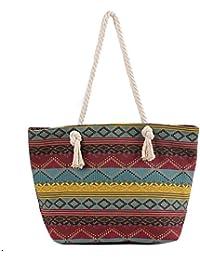 DonDon Damen Strandtasche Shopper mit Reissverschluss 46 cm 32 cm 16 cm in trendigen Farben