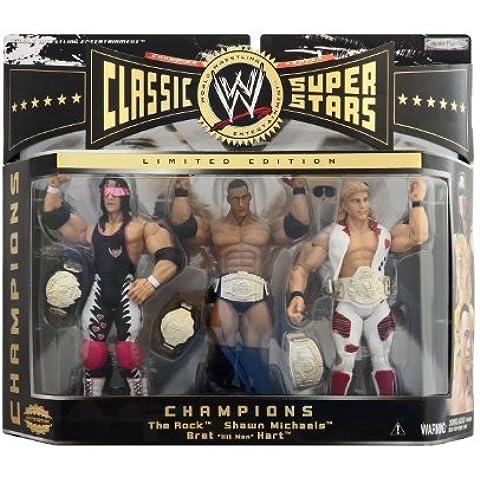WWE Jakks Pacific Wrestling Classic Superstars Exclusive Series 2 Action Figure 3Pack Champions The Rock, Shawn Michaels Bret The Hitman Hart by Jakks