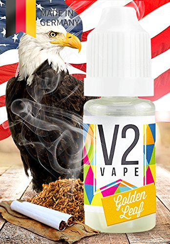 V2 Vape E-Liquid Golden Leaf Tabak, 10ml