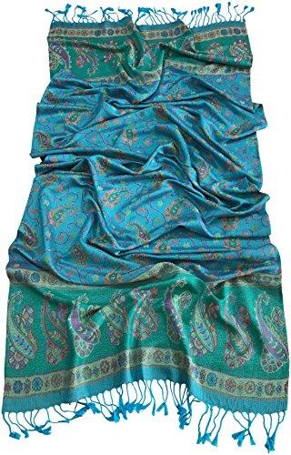 CJ Apparel Iridescent Cloud Design Shawl Pashmina Écharpe Emballage Étole Jet Secondes Turquoise