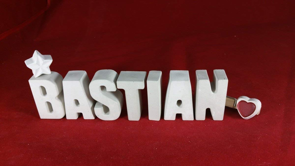 Beton, Steinguss Buchstaben 3D Deko Namen Bastian mit Stern und Herzklammer als Geschenk verpackt! Ein ausgefallenes Geschenk zur Geburt, Taufe, Geburtstag, Namenstag oder auch zu Weihnachten! 5