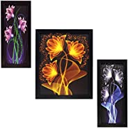 INDIANARA 3 PC Set of Floral Paintings (1407) Without Glass 4.7 X 10.4, 8.5 X 10.4, 4.7 X 10.4 inch