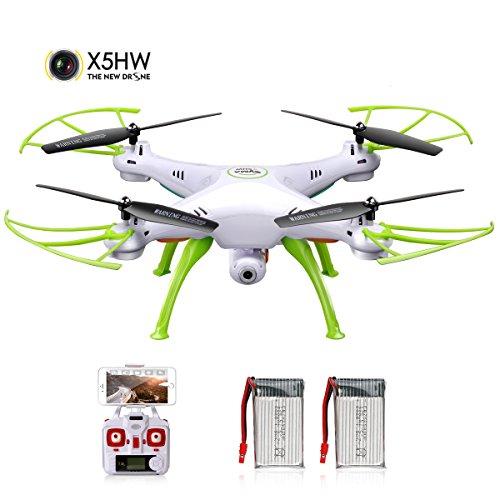 DoDoeleph Syma X5HW 2,4 Frecuencia 6-Axis Gyro FPV Drone Cámara de HD RC Quadcopter Drone Incluye una Función efectiva de Mantenimiento de altitud para Volar Muy Fácil para los Principiantes (Blanco)