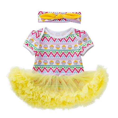 IZHH Baby MäDchen Outfits Set Osterei Kurzarm Strampler Prinzessin Rock + Haargurt Zweiteiler Kleinkind Neugeborenes Baby-Prinzessin Easter Eggs Tutu Dress 3-18 Mt(Weiß,66)