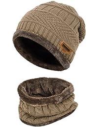 de5253a0a278 Kfnire enfants Casquettes écharpe, bonnet tricoté hiver + écharpe pour  garçons et filles, ...