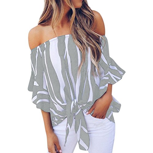 Kobay Women Striped Off Shoulder T Shirts Tops, Ladies' Waist Tie Blouse Casual Short Sleeve
