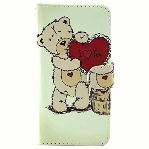 Coque pour iPhone 6 Plus, iPhone 6 Plus Coque Etui, iPhone 6s Plus Coque Etui, iPhone 6 / 6s Plus Portefeuille Cuir Coque Etui Housse, iPhone 6 Plus Wallet Flip Case Leather Cover, Ukayfe Etui de prot Love You Bear