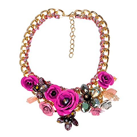 ZLYC Women's Fashion Gold Tone Personalized Flowers Necklace Frontal Floral