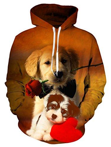 BFUSTYLE Männer & Frauen 3D Printed Crewneck Paar Hund Valentinstag Sweatshirt Hoodies mit großen Taschen (Sweatshirt Crewneck Printed)