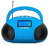 McGrey MC-50BT-BL Bluetooth Lautsprecher Akku Boombox mit Radio (USB-SD-Slot, UKW-Radio, Radiowecker, AUX-in, LCD-Display, Handy Akku, Netzteil) blau