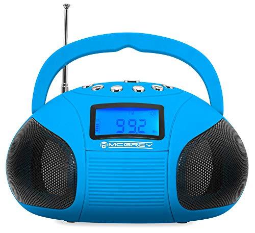 McGrey MC-50BT-BL Bluetooth Lautsprecher - Boombox mit UKW Radio-Wecker und Uhr - USB und SD Player - Betrieb über auswechselbaren Handy Akku oder Netzteil - Blau