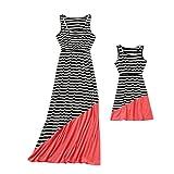 MCYs Mommy & Me Mutter und Tochter Kinder Mädchen Ärmellos Rundhals A-Linie Print Kleid Casual Familie Kleidung Sommerkleid S