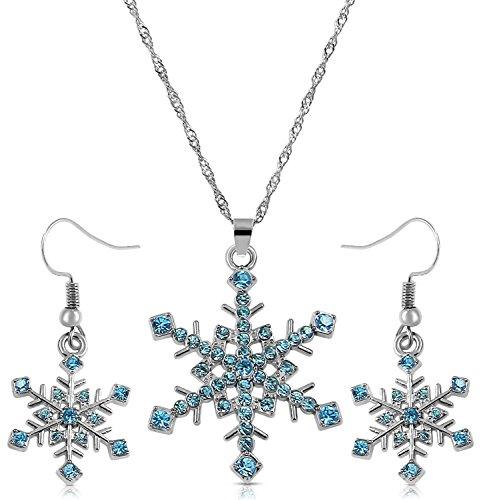 Glamour Girl Gifts Collection Silber Ton Aqua Ocean Blau Kristall Schneeflocke Halskette und Baumeln Ohrringe Schmuck Set Winter Abschlussball Brautschmuck