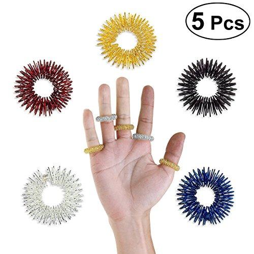 Massage Ring,UEETEK 5 Stücke Akupressur Ringe Chinesische Medizin Finger Massage Ring(Gold + Silber + Rot + Blau + Schwarz) (Chinesische Rote Pakete)