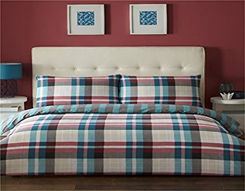 Chequered Teal and Pink Single Quilt Duvet Cover & 1 Pillowcase Bedding Bed Set Checked
